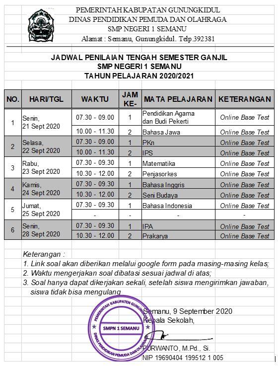 JADWAL PTS GANJIL 2020/2021